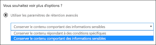Options de conservation avancée