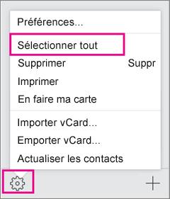 Ouvrez le menu Actions, puis sélectionnez Sélectionner tout.
