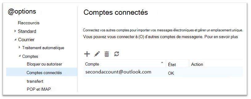 Option de comptes Office 365 - connecté