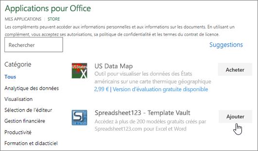 Capture d'écran montre la page compléments Office dans laquelle vous pouvez sélectionner ou recherchez un complément pour Excel.