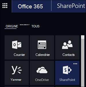Mosaïque de SharePoint dans le Lanceur d'applications Office 365