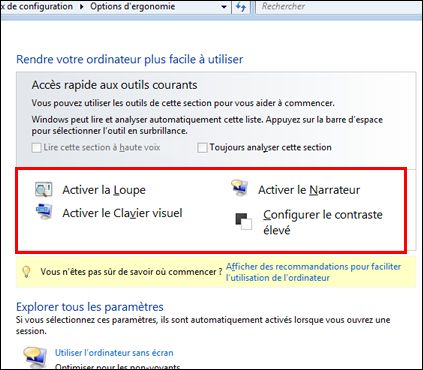 Boîte de dialogue Options d'ergonomie de Windows qui permet de choisir les technologies d'assistance