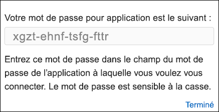 Copiez votre mot de passe d'application
