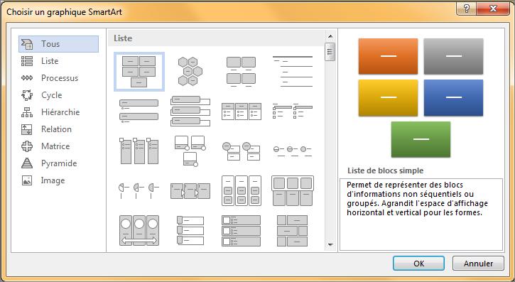 Choix dans la boîte de dialogue Sélectionner un graphique SmartArt