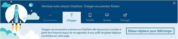 capture d'écran de la visite guidée de OneDrive qui apparaît lorsque vous utilisez OneDrive entreprise pour la première fois dans Office 365
