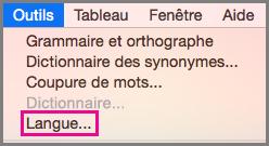 Menu Outils > Langue dans Office pour Mac