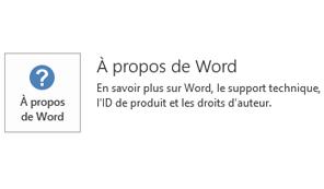 Lorsque Office a été installé à l'aide du programme d'installation Microsoft, les informations de mise à jour et d'application se présentent comme suit.