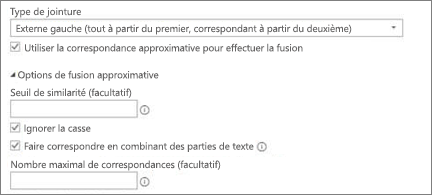 Options de fusion approximative dans la Boîte de dialogue Fusionner