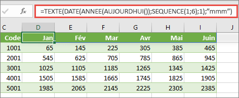 Worsksheet Excel avec la fonction SEQUENCE