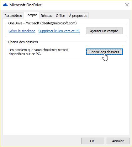 Capture d'écran montrant le curseur sur le bouton dossiers choisir dans l'onglet compte dans le menu Paramètres OneDrive.