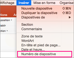 Menu Insertion dans PowerPoint 2016 pour Mac