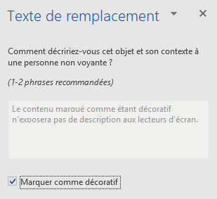 Volet Texte de remplacement pour les éléments décoratifs Word Win32