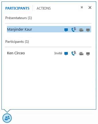 Capture d'écran des icônes en regard du nom des participants indiquant la disponibilité des fonctionnalités de messagerie instantanée, audio, vidéo et partage