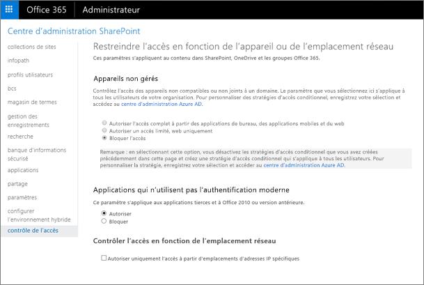 La définition de la page de contrôle d'accès bloquer l'accès