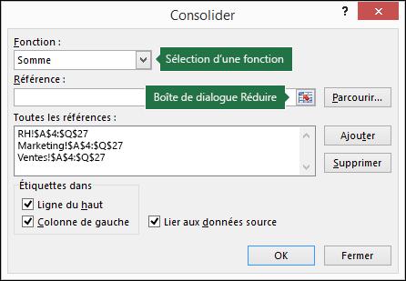 Boîte de dialogue Consolidation des données