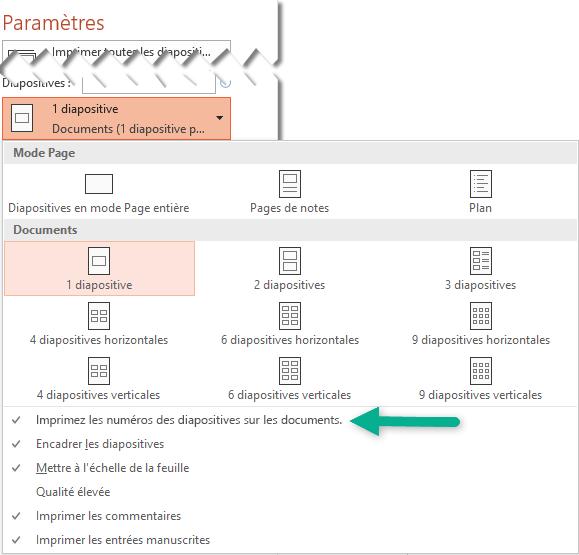 Imprimez les numéros des diapositives sur les documents.