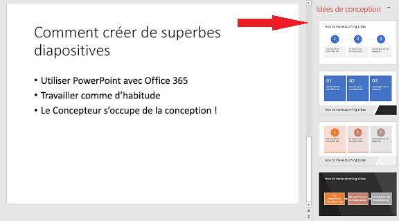 Exemple de diapositive simple que le Concepteur PowerPoint peut convertir en graphique