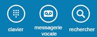 Utiliser les icônes en bas de l'écran pour afficher le pavé de numérotation, consulter la messagerie vocale ou rechercher des contacts