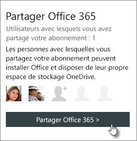 Capture d'écran de la section «Partager Office365» de la page Mon compte, montrant que l'abonnement est partagé avec une personne.