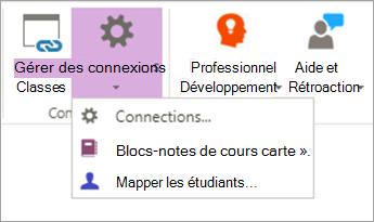 Sélectionnez les connexions dans le ruban de l'application Bloc-notes de cours.