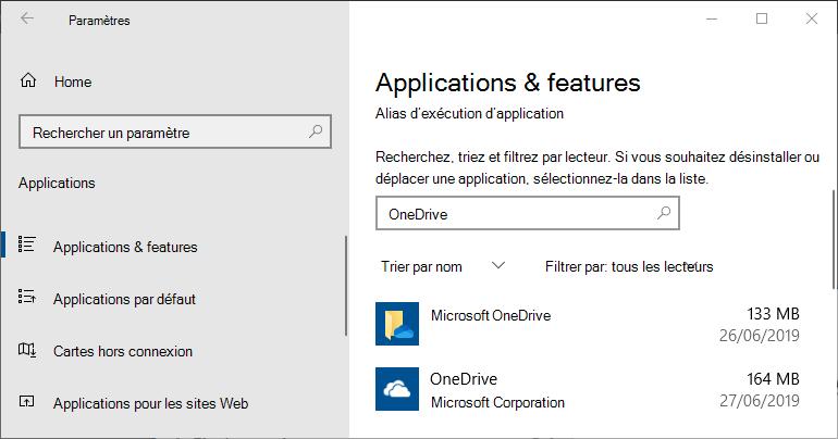 OneDrive dans les paramètres d'application Windows
