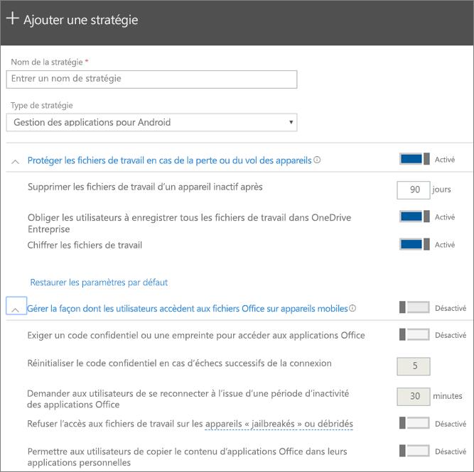 Capture d'écran de Créer une stratégie avec l'option Gestion des applications pour Android sélectionnée