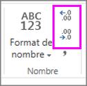 augmenter ou diminuer le nombre de décimales lors de la mise en forme d'un nombre
