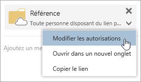 Capture d'écran du menu Autres actions