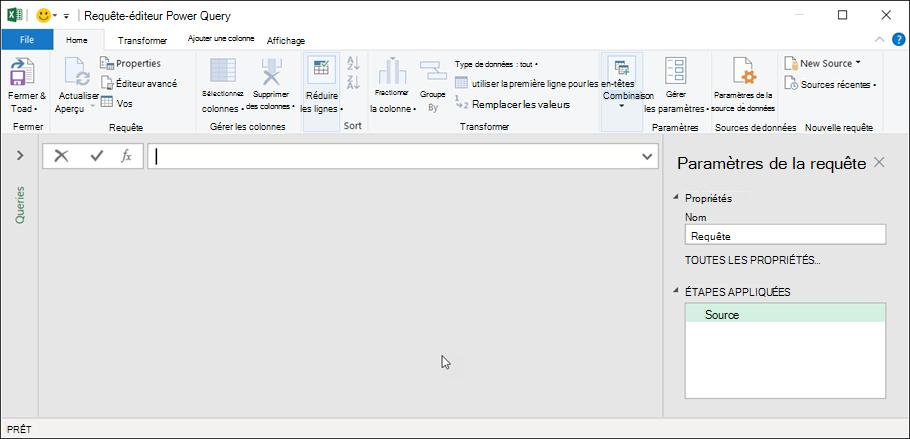 Éditeur de requête dans Excel 365