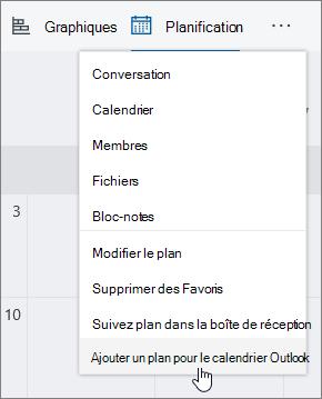 Menu de capture d'écran de planificateur avec l'option Ajouter un plan pour le calendrier Outlook sélectionné.