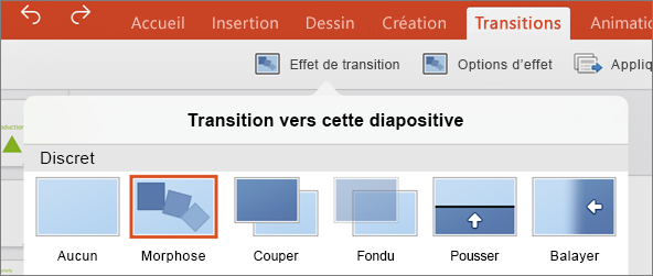 Transition Transformer dans le menu Transitions dans PowerPoint 2016 pour iPad