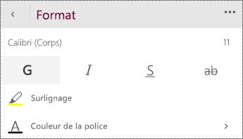 Modifier les paramètres de police.
