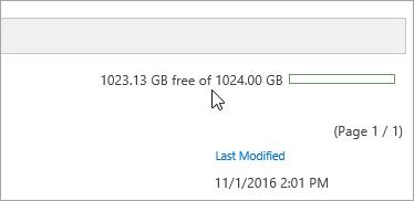 Capture d'écran montrant la capacité de stockage du nouveau client de synchronisation OneDrive.