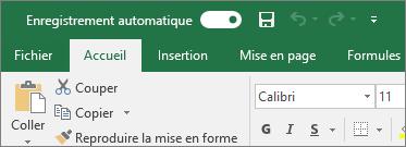 Barre de titre dans Excel affichant le commutateur Enregistrement automatique