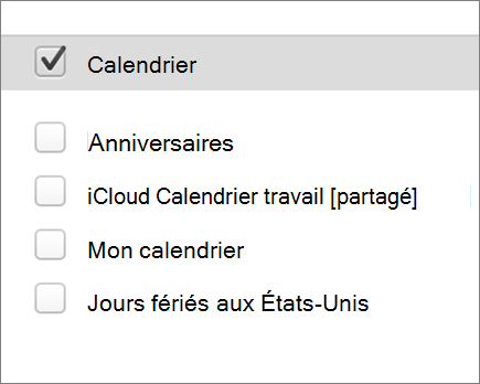 calendrier iCloud dans Outlook 2016 pour Mac