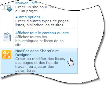 SharePoint Designer 2010 dans le menu Actions du site