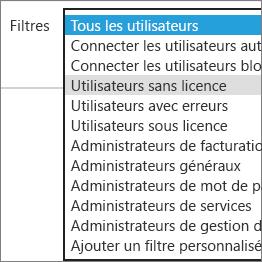 Sélectionnez les utilisateurs sans licence dans la liste Filtres.