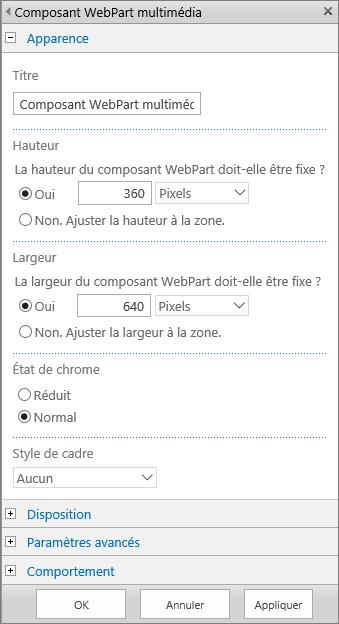 Boîte de dialogue Composant WebPart multimédia dans SharePointOnline pour spécifier les paramètres Apparence, Disposition, Avancé et Comportement pour les fichiers multimédias. Les options Apparence s'affichent, notamment le titre, la hauteur, la largeur et l'état et le style de cadre.