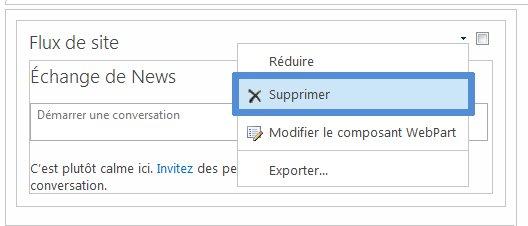 Supprimer un composant WebPart