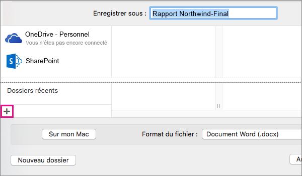 Pour ajouter un service en ligne, cliquez sur le signe plus situé en bas de la colonne gauche de la boîte de dialogue Enregistrer sous.