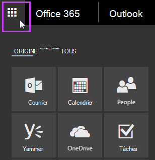 Lanceur d'applications Office 365 montrant les vignettes Courrier, Calendrier, Contacts, Yammer et OneDrive