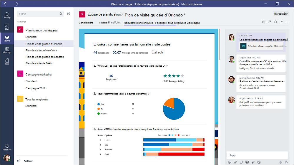 Onglet formulaires dans Microsoft Teams qui affiche un formulaire en mode «Résultats»