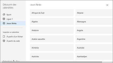 Capture d'écran montre l'option des jours fériés dans découvrir calendriers.