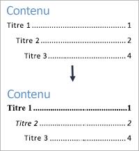 Affichage avant et après des styles de mise en forme du texte dans une table des matières