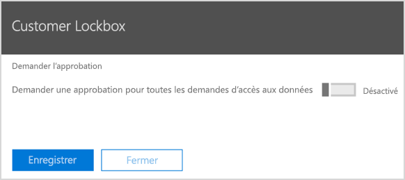 Demander l'approbation pour le Customer Lockbox