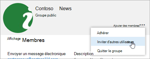 Capture d'écran du bouton inviter d'autres personnes sur la carte du groupe.