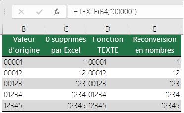 """Exemples d'utilisation de la fonction TEXTE pour mettre en forme les zéros non significatifs: =TEXTE(A2;""""00000"""")"""