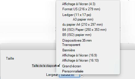 Plusieurs options de taille de diapositive prédéfinées sont disponibles dans la boîte de dialogue Mise en page