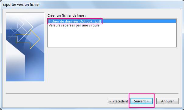 Choisissez Fichier de données Outlook (.pst) et cliquez sur Suivant.