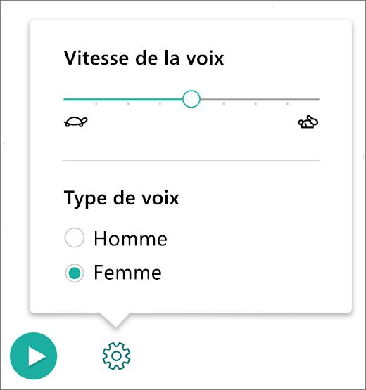 Menu Contrôles vocaux dans la partie Lecteur immersif du complément Outils d'apprentissage pour OneNote.